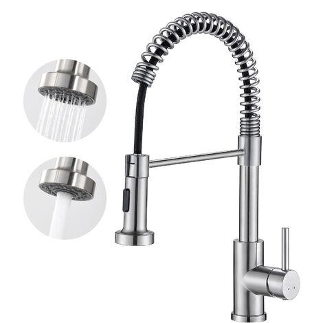 AuraLum Wasserhahn Küche Armatur schwarz mit herausziehbarem Brause 360° drehbar Multifunktion Spültischarmatur Zwei Wasserauslass