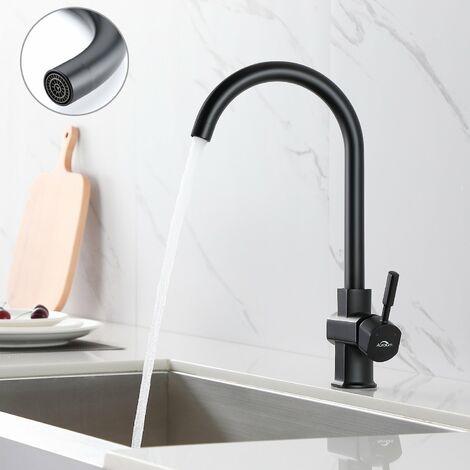 Auralum Wasserhahn Küche Küchenmischer Schwarzer drehbarer Auslauf 360 ° Küchenarmatur Elegantes Messing Einhand-Spülbecken