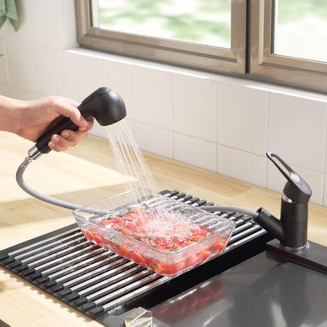 Auralum Wasserhahn Küche mit ausziehbar Brause | Küchenarmatur 360° Drehbar Spültischarmatur Küche Wasserhahn | Mischbatterie Einhebelmischer für Küchenspüle, Schwarz