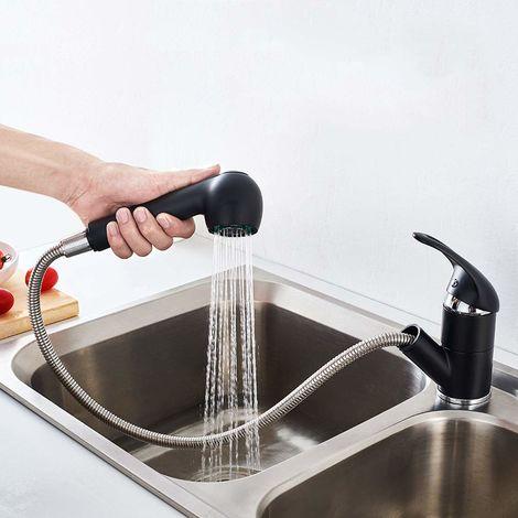 Auralum Wasserhahn Küche mit ausziehbarem Brause 360° Drehbar , 2 Verschiedene Wasserstrahlarten