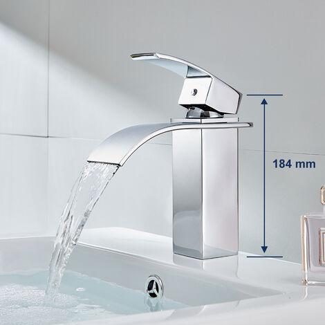 Auralum Wasserhahn Wasserfall Waschtischarmatur Bad Armatur für Badezimmer Waschtisch Waschbecken Armatur