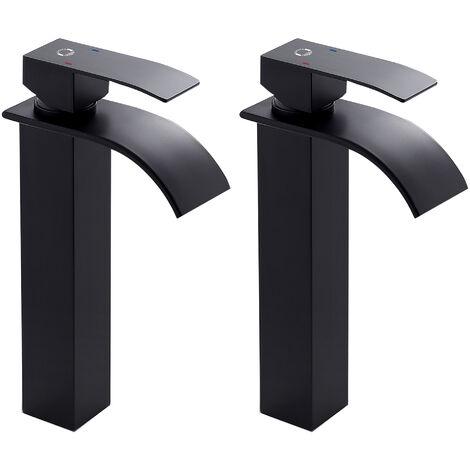 Auralum Wasserhahnn Bad Design verlängerte Einhebel   Waschtischarmatur Armatur Wasserfall   Einhandmischer für Badzimmer