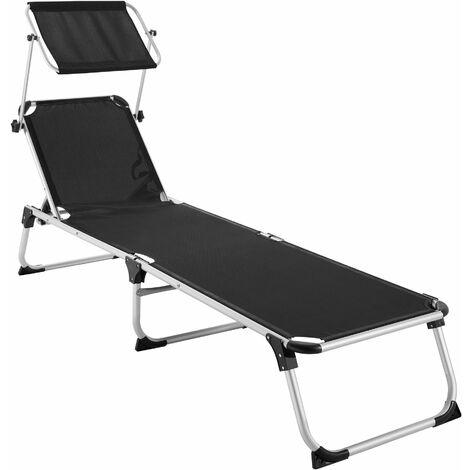 Sun lounger Aurelie - garden lounger, garden sun lounger, reclining sun lounger - black - schwarz