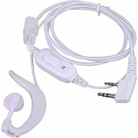 Auricular Microfono PTT para Emisora Walkie Baofeng HYT 1 M Blanco