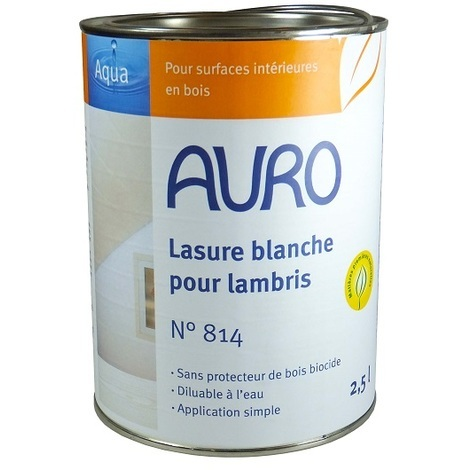 Auro - Lasure couvrante blanche pour lambris 2,5 L - N° 814