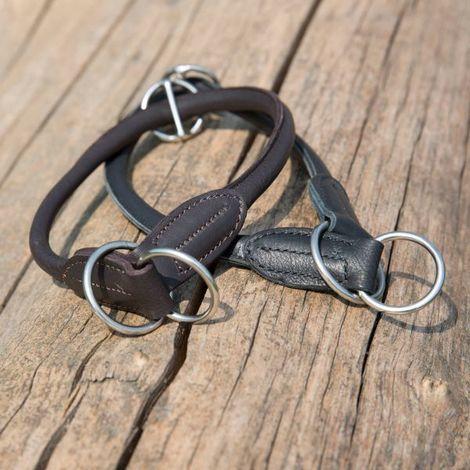 Ausbildungshalsband Kieffer Ultrasoft, 60cm, schwarz, Leder, ohne Schnallen, rundgenäht, Chrom-Beschläge, 8mm breit