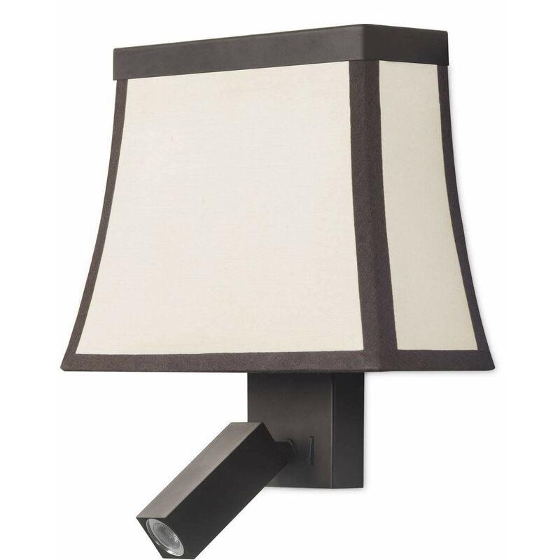 05-leds C4 - Ausgefallene Wandleuchte mit Leselampe, Lampenschirm aus braunem Stahl und beigem Baumwolle