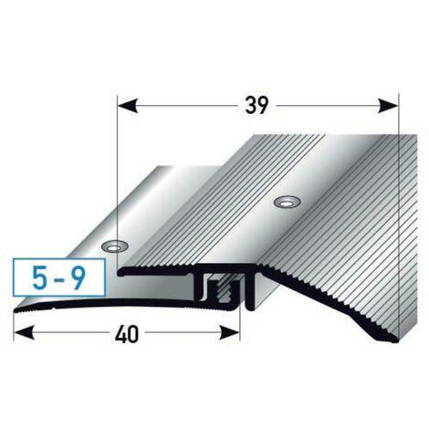 """Ausgleichsprofil / Anpassungsprofil Laminat """"Kingston"""", für Höhe 5 - 9 mm, 39 mm breit, 2-teilig, Aluminium eloxiert, gebohrt"""