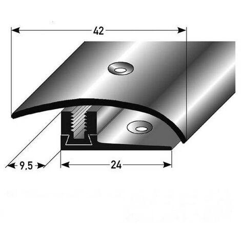 """Ausgleichsprofil / Anpassungsprofil Laminat """"Regina"""", Höhe 7 x17 mm, 42 mm breit, 3-teilig, Edelstahl, gebohrt, Flex"""