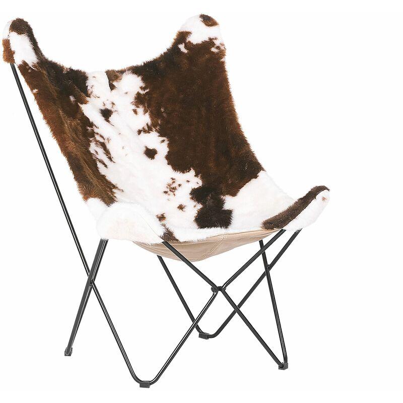 Beliani - Sessel Braun/Weiß Polsterbezug mit Metallbeinen Kuhflecken-Muster Wohnzimmer Schlafzimmer Retro Stil Modernes Design