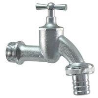 Auslaufventil (Wasserhahn) 3/4'' - matt verchromt, mit Schlauchverschraubung 1'' - Knebeloberteil