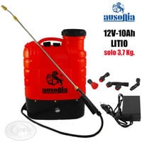 Ausonia pompa a spalla 16 lt batteria a litio 12v 10ah ricaricabile + accessori