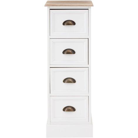 Austin Chest, 4 Drawers, White / Natural