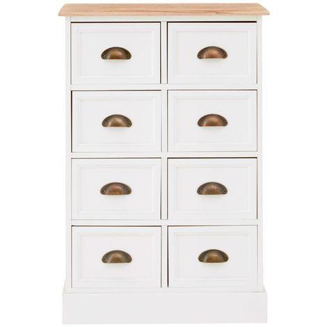 Austin Chest, 8 Drawers, White/Natural