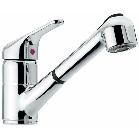 Ausziehbare Niederdruckarmatur Einhebelmischer Küchenarmatur Spültischarmatur Küchen Wasserhahn fürs Spülbecken mit ausziehbarer Geschirrbrause zum Anschluss an Boiler bzw. Untertischgerät - Made in Italy