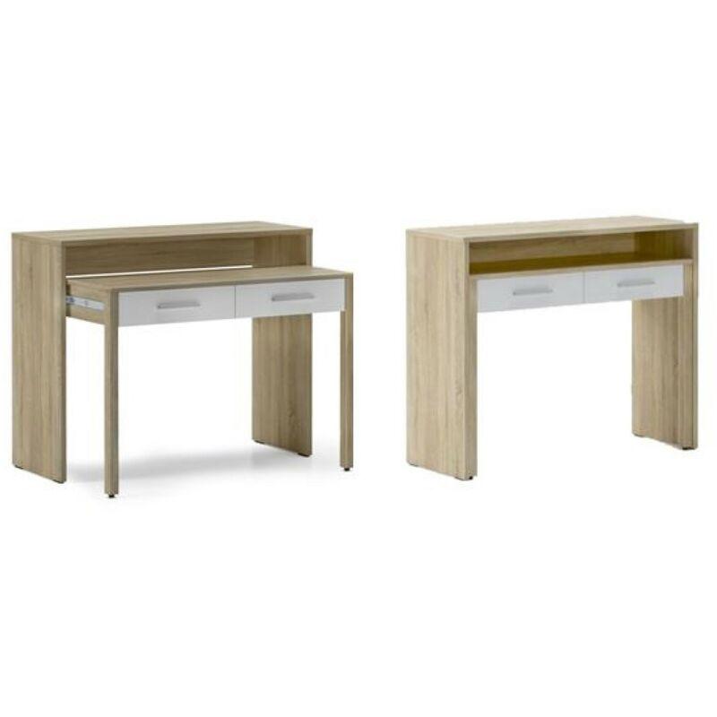 Ausziehbarer Schreibtisch, Studio-Konsolentisch, Computertisch, PC, 2 Schubladen, Oberfläche Eiche/weiß, Maße: 98,6x86,9x36- 70 cm Tiefe