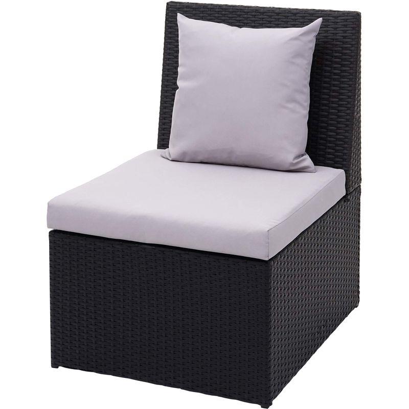 Fauteuil en polyrotin HHG-876, chaise de jardin, gastronomie ~ noir, coussin gris clair