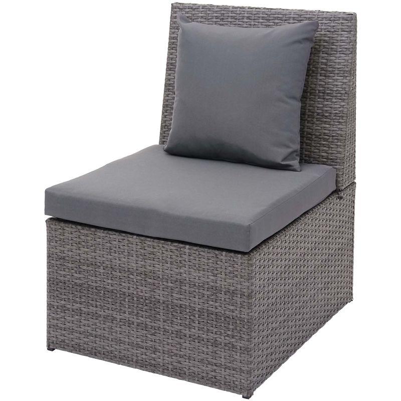Fauteuil en polyrotin HHG-876, chaise de jardin, gastronomie ~ gris, coussin gris foncé