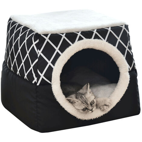 Auto-Warming Cat Cave Bed 2-In-1 Pliable Chiens Coussin Lit Confortable Et Souple All Season Lavable Cat Bed Mat Chats Interieur Chiens Maison Avec Oreiller, Noir, Xl
