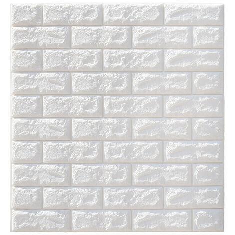 Autoadhesivo 3D Brick Wall Sticker Panel Wallpaper Blue Waterproof Foam 70 * 77cm