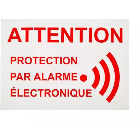 Autocollant / adhésif vitre 'ATTENTION PROTECTION PAR ALARME ÉLECTRONIQUE' (8 x 6 cm)