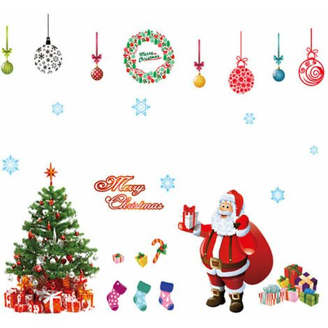 Autocollant Art Mural Arbre De Noel Père Hiver Cadeau Fenetre Maison Decor