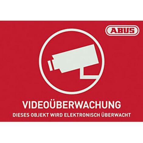 Autocollant davertissement surveillance vidéo ABUS AU1420 rouge, blanc (l x h) 148 mm x 105 mm
