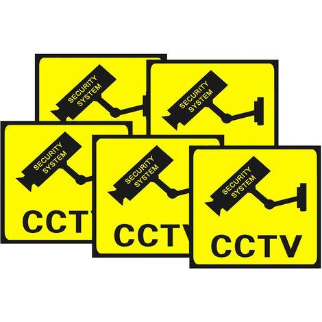 Autocollant De Camera, Panneaux D'Avertissement, Pour La Videosurveillance, 5Pcs