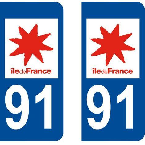 Autocollant departement 91 - ESSONNE -x2- Generique