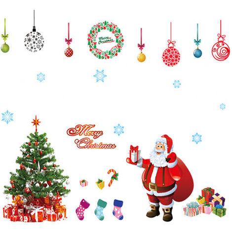 Autocollant Mural Art Arbre de Noël Père Hiver Cadeau Fenêtre Maison Decor