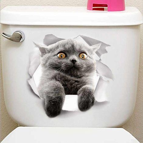 Autocollant mural en PVC pour réfrigérateur et toilettes chat Lovely Animal