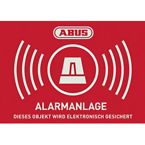 Autocollants davertissement système dalarme ABUS AU1423 rouge, blanc (l x h) 74 mm x 52.5 mm
