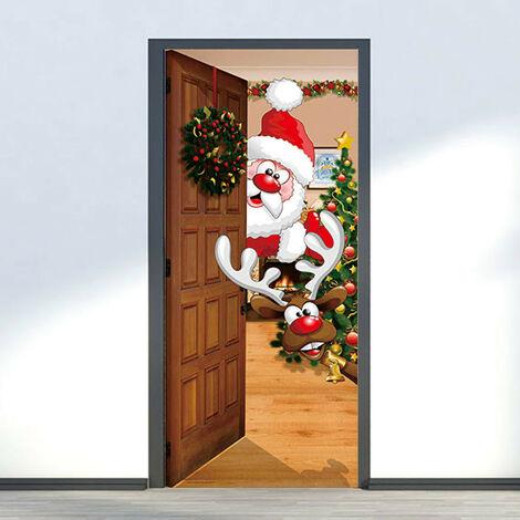 Autocollants de porte de noël bricolage décoration de la maison stickers auto-adhésif en caoutchouc papier peint porte étanche murale chambre porte décoration