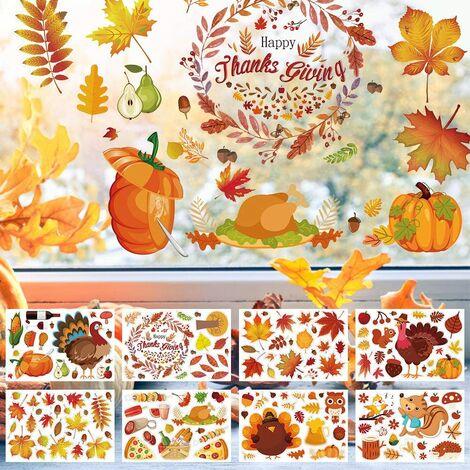 Autocollants de Thanksgiving Stickers, Fenêtre de Feuilles d'automne Stickers, Automne Décoration Autocollant, Fenêtre de Feuilles D'Érable pour la Décorations de la Fête Thanksgiving