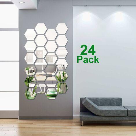 Autocollants muraux amovibles en acrylique miroir réglable de 24 pièces pour la décoration du salon familial et de la chambre