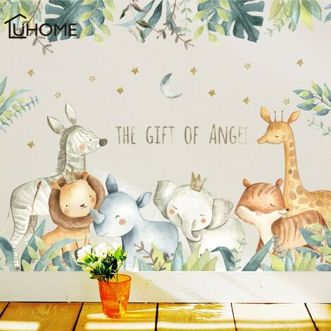 Autocollants muraux de bande dessinée pour chambres d'enfants girafe Lion renard éléphant Animal autocollants pour la maison pépinière maternelle bébé chambre décor à la maison