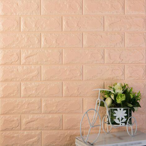 Autocollants muraux en trois dimensions 3D Protection de l'environnement Motif de brique Papier peint Maternelle Salon Anti-collision Jupe murale auto-adhesive etanche, 60x30CM 1 # (Champagne Orange)
