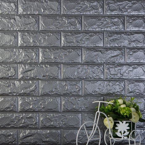 Autocollants muraux en trois dimensions 3D Protection de l'environnement Motif de brique Papier peint Maternelle Salon Anti-collision Jupe murale auto-adhesive etanche, 60x30CM 2 # (Gris argente)