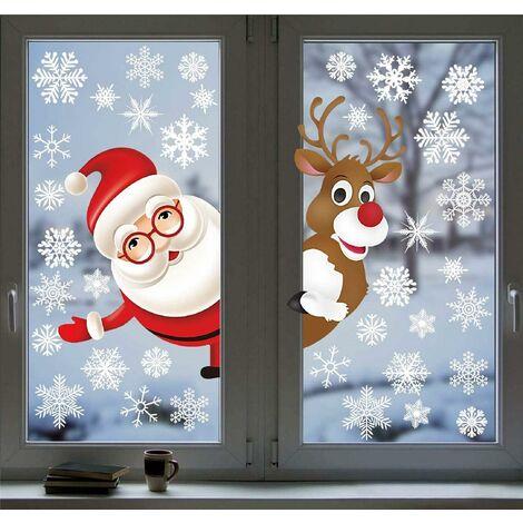 Autocollants Stickers Muraux Amovibles Stickers Fenetre Père Noël Renne Autocollant Electrostatique pour Portes, vitrines, façades en Verre et Plus Décoration de vitrine de Noël