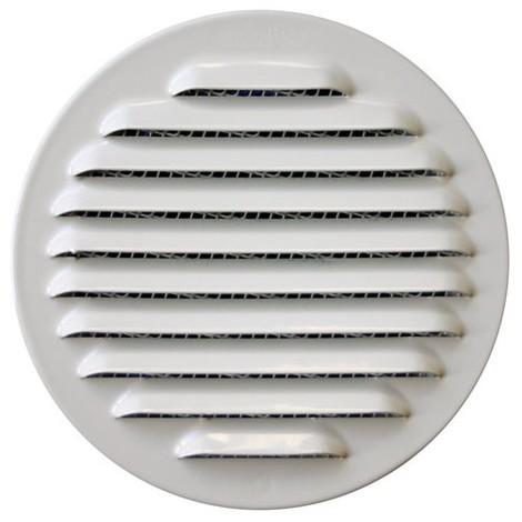 AUTOGYRE - Grille ventilation ronde à emboîter + moustiquaire D : 100 mm - alu blanc
