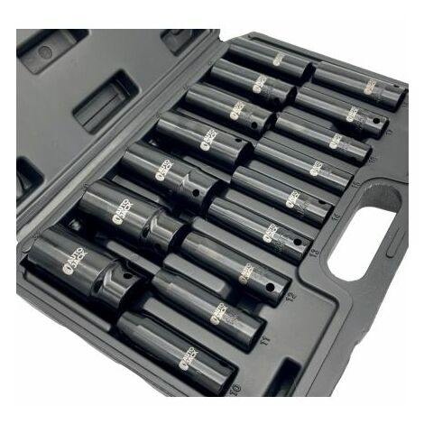 Autojack 16pc 1/2 inch Square Drive Deep Impact Metric Socket Set 10-32mm In Carry Case