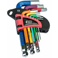 Autojack short ball end hex key set 9pc color-coded