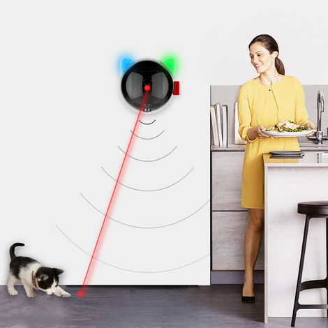Automatic Cat Toy USB Rechargeable Red Dot LED Pointer Rotating Moving Electronic Pen LED Light Interactive Cat Chase Toys