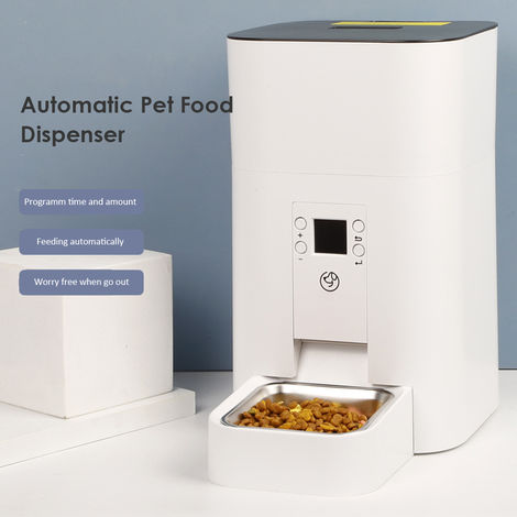 Automatic Pet Dog Food Dispenser 4L Pet Feeder with Stainless Steel Bowl Programmable Timer