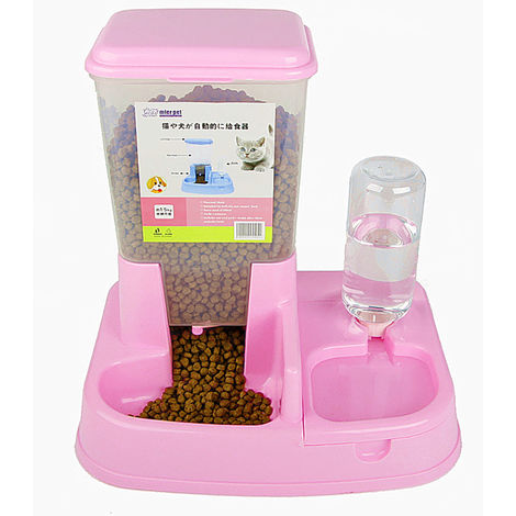 Automatic Pet Feeder Dog Food Dispenser Water Dispenser Pink