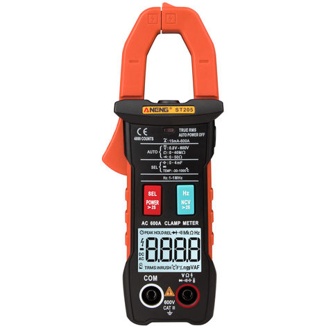 Automatic range digital current multimeter DC AC clamp meter voltmeter without battery orange