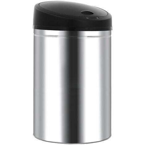 Automatic Sensor Dustbin Garbage Bin 52 L Stainless Steel - Silver