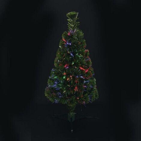 AUTOUR DE MINUIT Sapin vert en fibre optique - 80 branches - 12 leds - 80 cm