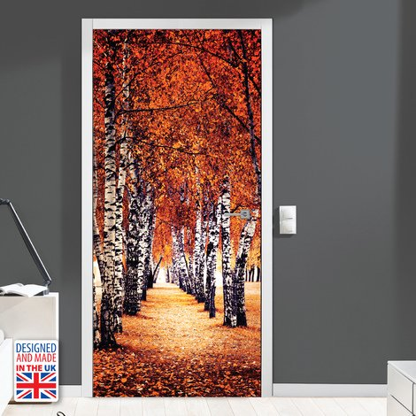 Autumn Birch Tree Path Self-Adhesive Door Mural Sticker For All Europe Size 90Cm X 200Cm
