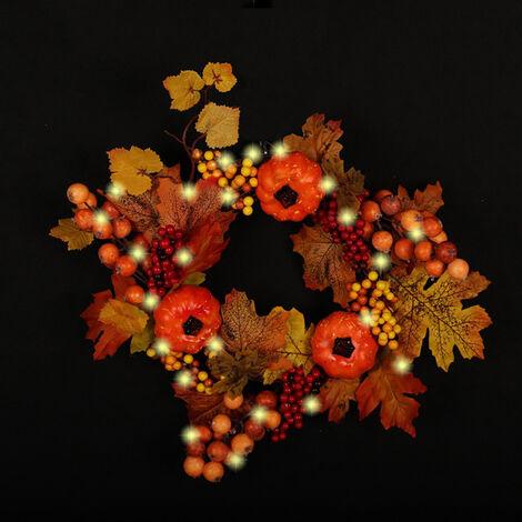 Autumn Maple Leaf Artificial Maple Pumpkin Berry Wreath Rattan Home Decor